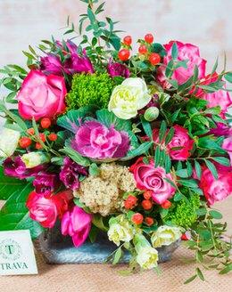 Букет цветов с брасикой, альстромерией, розой, гиперикумом, гвоздикой, ...