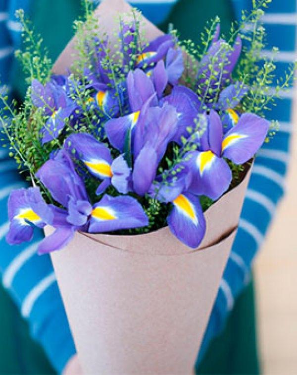 Букет цветов из ириса и тиласпии