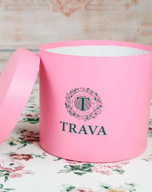 Коробка для цветов розовая (средняя)